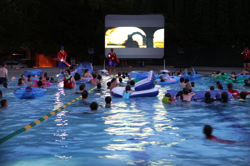 by: DAVID F. ASHTON - It's all in the pool for this movie party at Sellwood Pool.