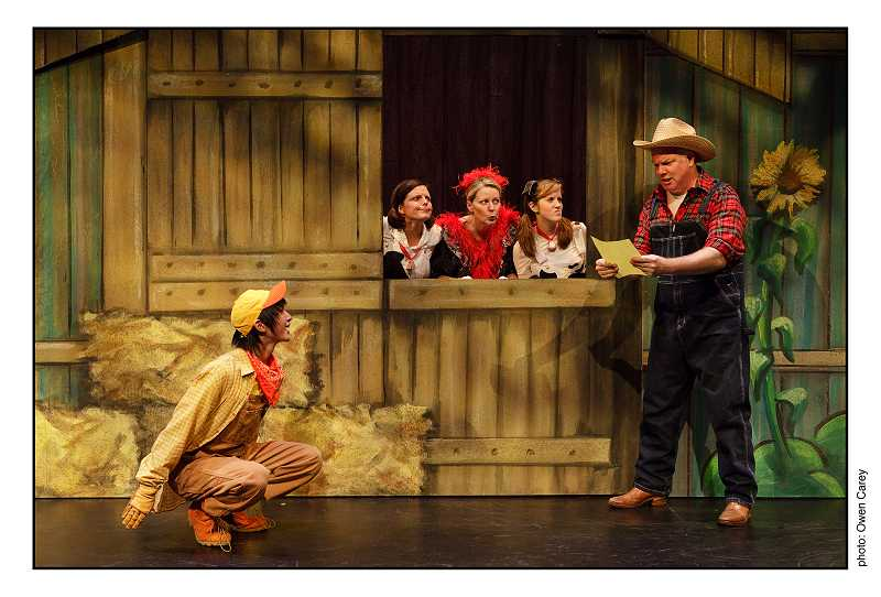 by: SUBMITTED PHOTO: OWEN CAREY - Hogan Fritz as Duck and Joshua Stenseth as Farmer Brown in the barnyard.