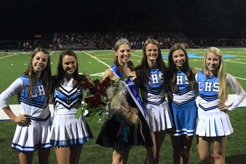 by: SUBMITTED PHOTO - Spirits were high even though the Pacers lost their homecoming game last Friday. Pictured below from left are ASB members Rachel Hengesh, Alexa Stirek, homecoming queen Abby Ernst, Activities Director Kelly O'Neill, Ally Bartlett and Lizzie Aronson.