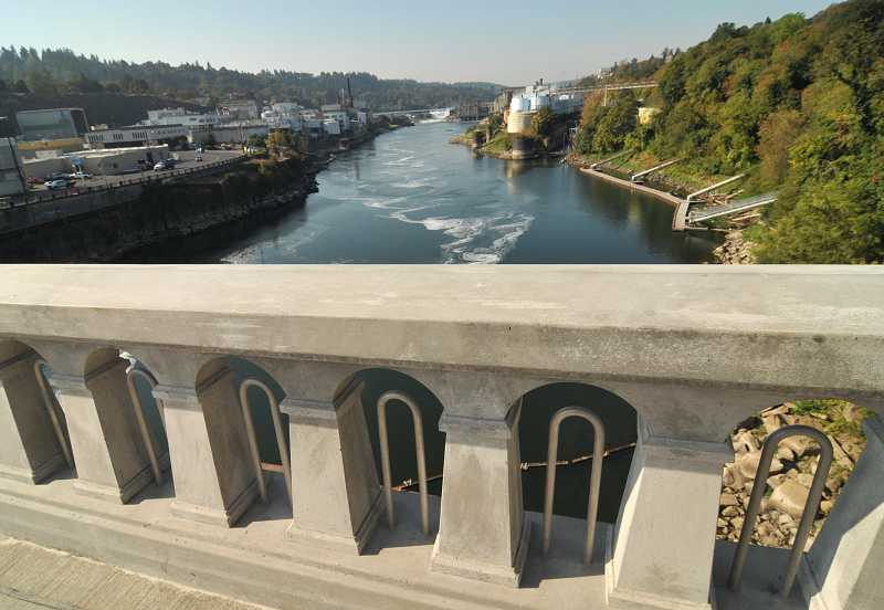 by: VERN UYETAKE - More than 1,500 feet of railing was replaced on the Oregon City-West Linn Arch Bridge.