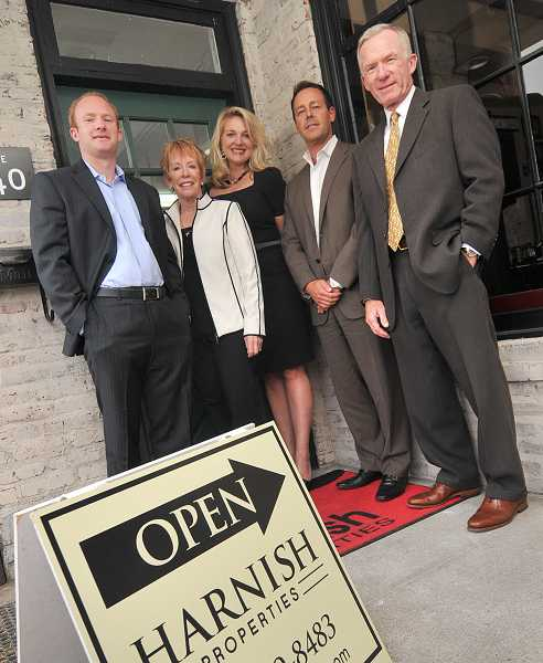 by: VERN UYETAKE - The Harnish family has been at the top of the Lake Oswego real estate business for decades. Now, Harnish Properties is striking out on its own. Shown are, from left, Justin Harnish, Kristi Harnish, Veronica Park, Errol Bradley and Jon Harnish.