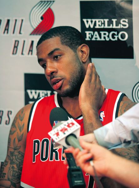 by: TRIBUNE PHOTO: JONATHAN HOUSE - LaMarcus Aldridge is being asked to lead the Trail Blazers vocally, and with his offense.