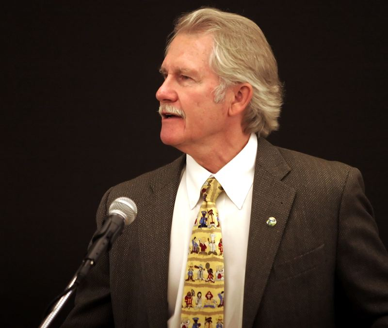 by: OUTLOOK PHOTO: JIM CLARK - Oregon Gov. John Kitzhaber speaks at the Economic Summit at Persimmon Country Club on Thursday morning.