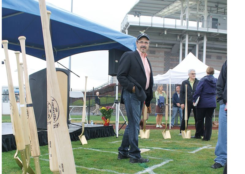 by: TRIBUNE PHOTO: JOHN SCHRAG - Hillsboro Mayor Jerry Willey stands near shovels with baseball bat handles made by Parks & Recreation Department workers for the stadium groundbreaking ceremony.