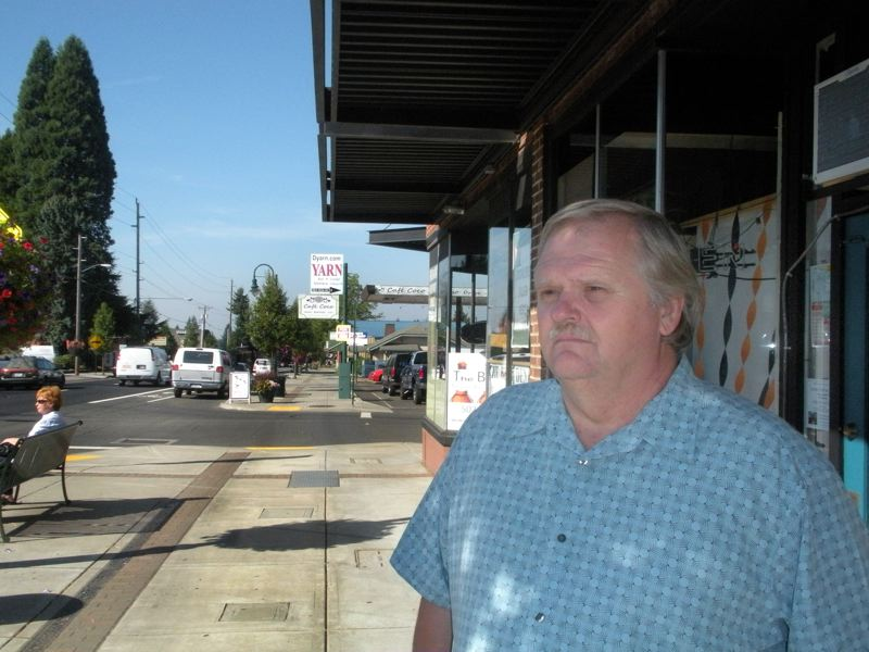by: POST PHOTO: JIM HART - Dale Hult, a downtown Sandy service business owner and landowner, does not agree with the concept of landowners paying an assessment that is designed to benefit retail businesses.