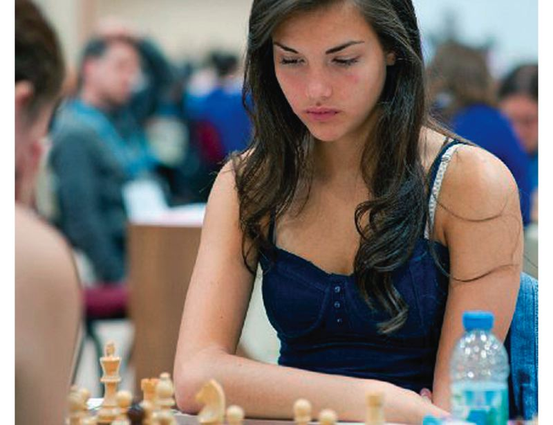 by: SUBMITTED PHOTO - Alexandra Botez, a senior at Clackamas High School, contemplates her next move at the 2012 World Chess Olympiad, played in Istanbul, Turkey.