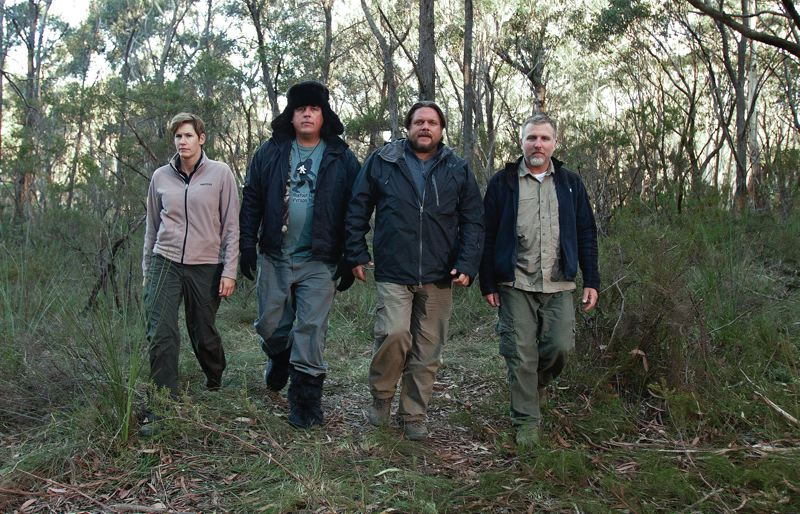 by: PHOTO COURTESY OF ANIMAL PLANET - Cast members from The Animal Planet's TV show 'Finding Bigfoot' set out on a mission. Pictured above are Ranae Holland, James 'Bobo' Fay, Matt Moneymaker and Cliff Barackman.