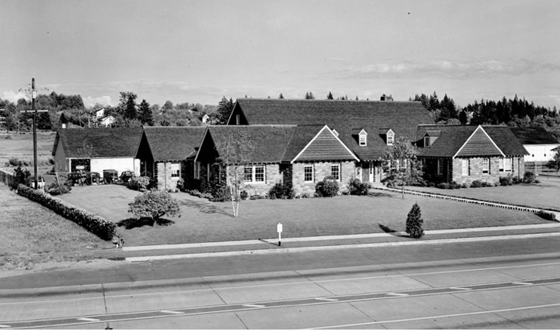 by: COURTESY OF ODOT - The State Highway Division Region 1 Office (the Highway Division is now ODOT), shortly after its completion in 1938, on the east side of McLoughlin Boulevard, south of Ochoco Street.