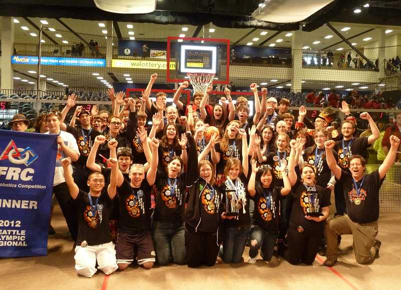 by: SUBMITTED PHOTO - Last year the Wilsonville-West Linn robotics team, 1425, Error Code Xero, won the regional championship at the Seattle Olympic Regional and attended the world competition.