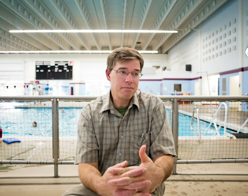 by: NEWS-TIMES PHOTO: CHASE ALLGOOD - Greg Rooker, parent of five children who are all strong swimmers, has asked the Forest Grove School Board to consider reviving a long-defunct swim lessons program in town.