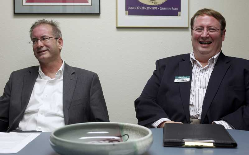 by: JONATHAN HOUSE - Tigard mayoral candidates Nick Wilson, left, and John L. Cook agree on the majority of issues, but come from two different backgrounds with the city.