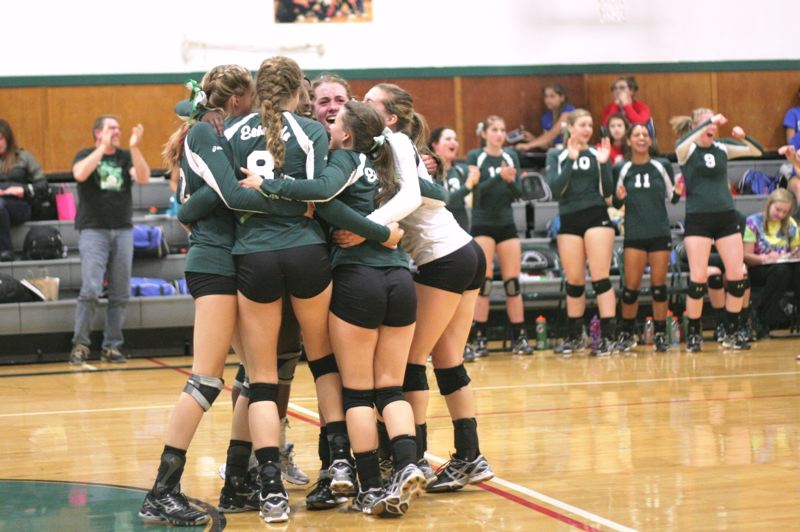by: PHOTO BY LOREN NIBBE - The Rangers celebrate after the emotional victory over the rival Falcons.