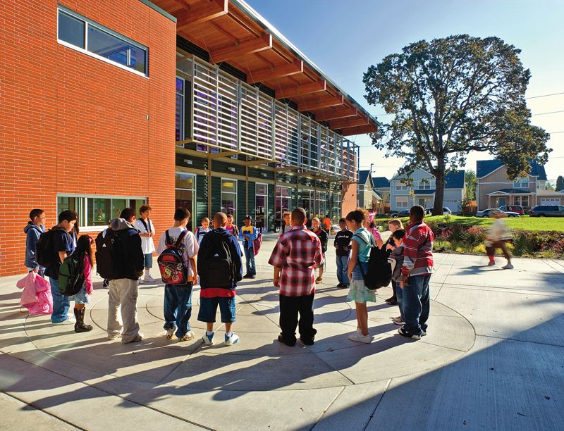 by: COURTESY OF GARY WILSON - Rosa Parks School was designed as a model green building, but student test scores haven's matched its LEED Gold rating.