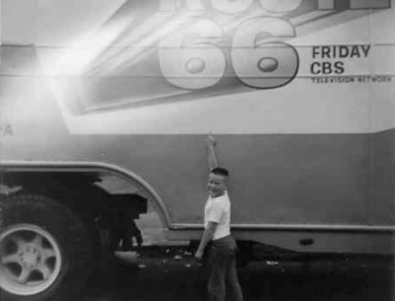 by: SUBMITTED HISTORIC PHOTO - Ray Benski, Jr. checks out some of the equipment from when 'Route 66' crews visited Oregon City in 1962.