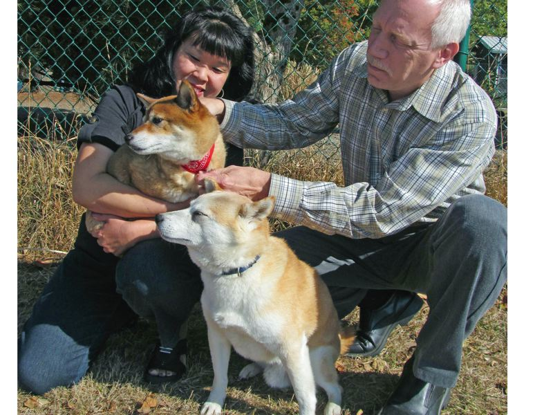 by: PHOTO BY ELLEN SPITALERI -  Denise Roelke holds Jewel, while Tony Roelke encourages Oso to give Jewel a doggy kiss.