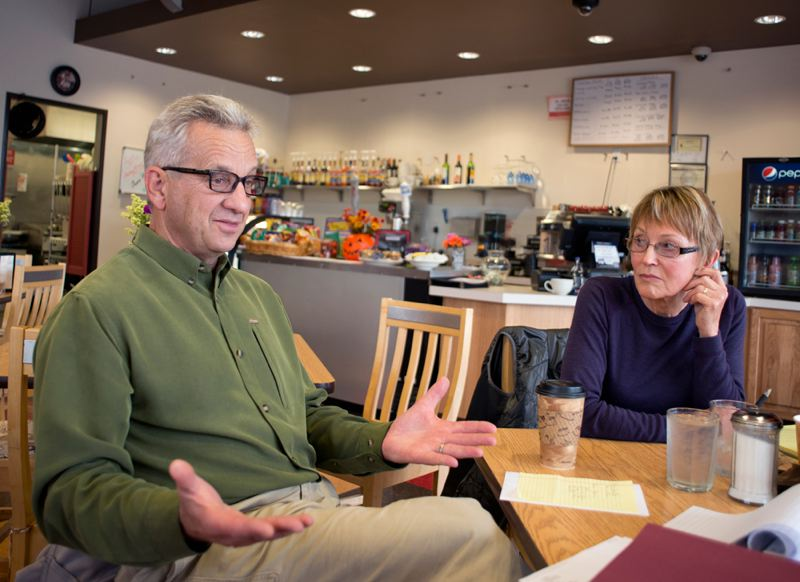 by: NEWS-TIMES PHOTO: CHASE ALLGOOD - NEWS-TIMES PHOTO: CHASE ALLGOOD Stop the Stink co-founders Tony Spierling and Marilyn Schulz discuss the problem with smells emanating from the Nature's Needs composting site in North Plains.