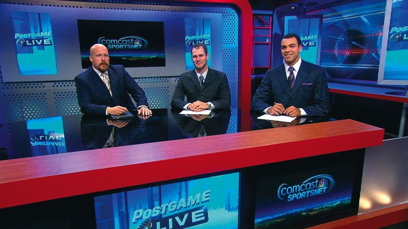 by: PHOTO COURTESY OF COMCAST SPORTSNET - Nate Costa (middle) joins Jason Scukanec (left) and host Jordan Kent for a college football show  on Comcast SportsNet Northwest.