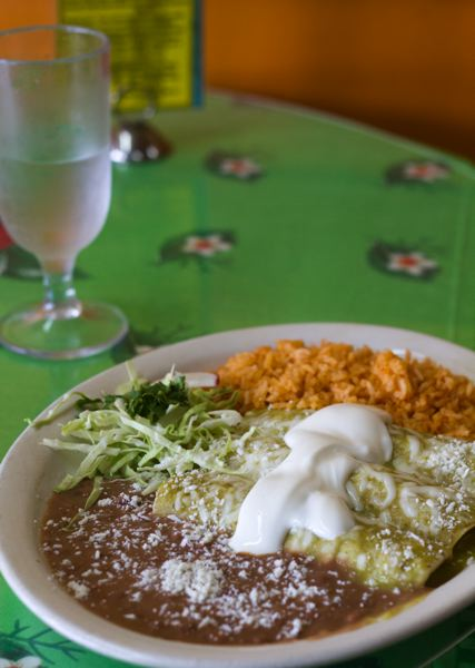 by: TRIBUNE PHOTO: CHASE ALLGOOD - Is youre not in the mood for soup, try the Enchiladas Verde ($9.95), three corn tortillas filled with tender chicken and smothered in tomatillo and jalepeno sauce.