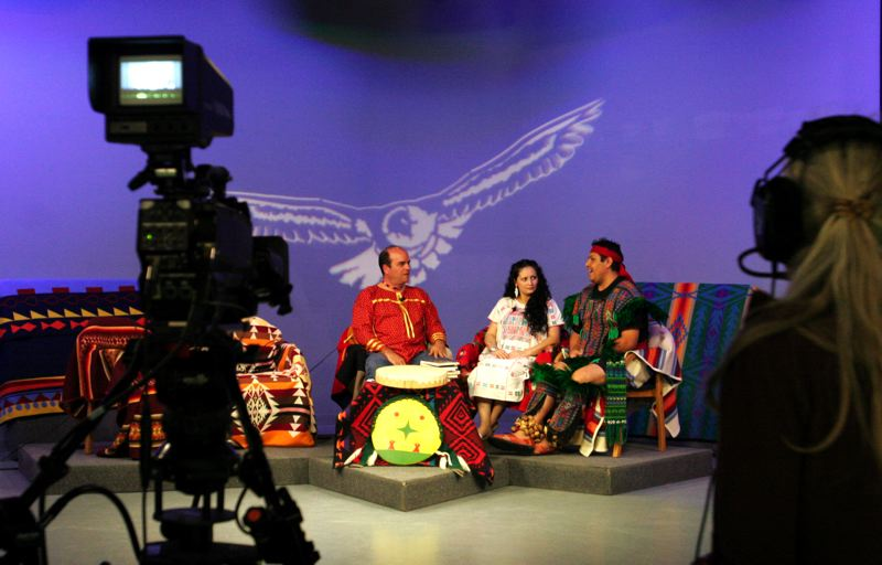 by: OUTLOOK PHOTO: JIM CLARK - Native Nations, one of the country's longest-running TV shows about indigenous peoples´ issues, tapes a segment about Native American dancing at MetroEast Community Media in Gresham.