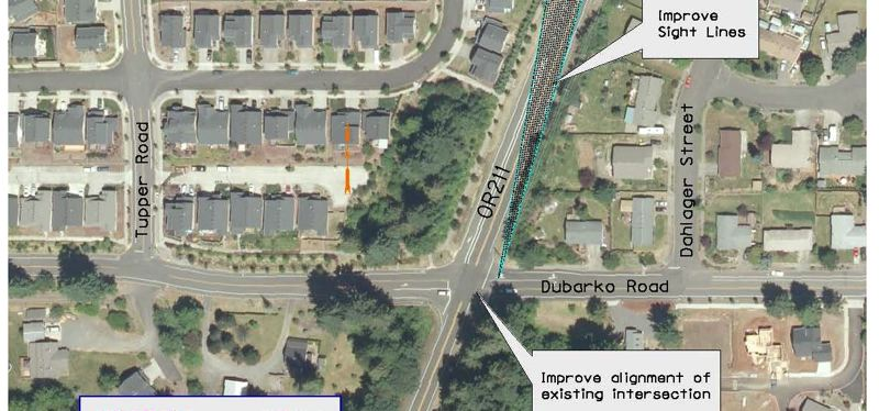 by: CONTRIBUTED GRAPHIC: ODOT  - This satellite view of the intersection shows why the crossing is a problem, and the changes ODOT intends to make. A public meeting next Monday will help local residents understand the problem and get all their questions answered.
