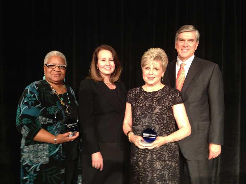 by: SUBMITTED - Judy Cushing, second from right, is shown at the NAMI awards dinner at which she was honored. Joining her for the occasion were former state Sen. Avel Gordly, Sharon Smith and former U.S. Sen. Gordon Smith.