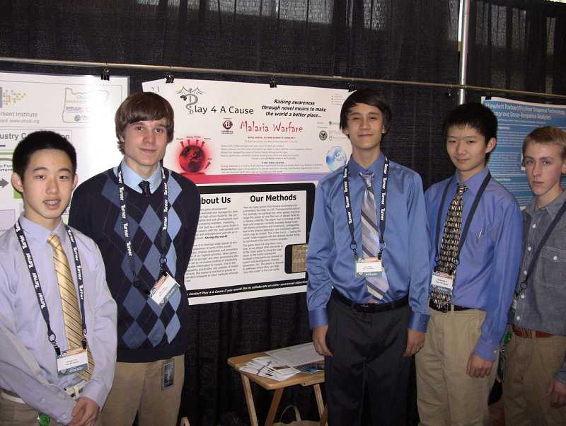 by: SUBMITTED PHOTO - From left are members of Play 4 A Cause, Vincent Chia, Ben Case, Sean Kelly, Andrew Liu and Aaron Freyer.