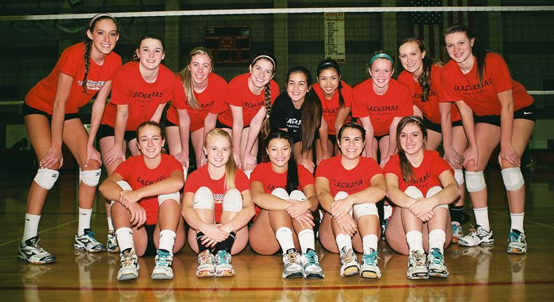 by: JOHN DENNY - Clackamas High Schools volleyball team made school history this fall, going 10-0 in Three Rivers League play. Its the first time that a Clackamas High School varsity volleyball team has gone undefeated in league. Vying for the standout team were: (front row, from left) seniors Shelby Vasconcellos-Mattocks, Hannah Stultz, Kiana Miller, Claire Walker and Kasey Toedtemeier; (back row) juniors Taylor Agost, Bailey Bremer and Emma Chizum, sophomore Caroline Combs, junior Tara Deaver-Noblisse, sophomore Marissa Rhodes, juniors Shelby Torgerson and Cassidy Scott, and sophomore Lauren OBrien; and (not pictured) senior Sydney Wilson.