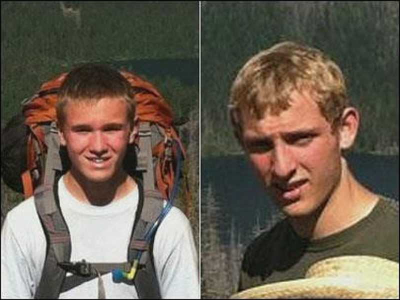 by: COURTESY OF CCSO - Jackson Chandler and Bradley Nelson spent nearly two days in the woods after a day hike in the Table Rock area near Molalla. Searchers found them Monday afternoon.