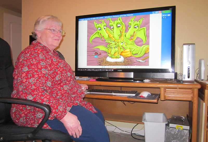 by: BARBARA SHERMAN - ILLUSTRATORS AND WRITERS KEY TO SUCCESSFUL CHILDREN'S BOOKS - Even though PJ Cowan has macular degeneration, she uses a computer just fine thanks to her huge monitor that allows her to enlarge both print and illustrations.