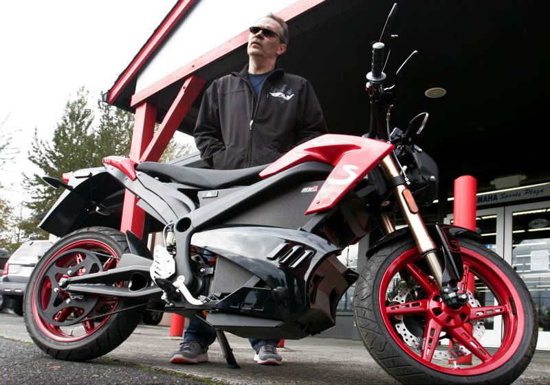 by: OUTLOOK PHOTO: JIM CLARK -  Ed Muesec, general manager for Yamaha Sports Plaza, found the power and maneuverability of the Zero to be equal to similar sized gas powered motorcycles.