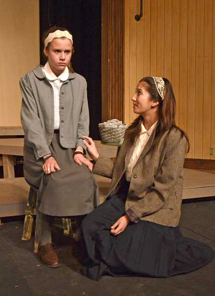 by: REVIEW PHOTOS: VERN UYETAKE - Jayne Ruppert as Raja Englanderova and Hannah Johnstone as Irena Synkova in Westside Christian High School's production, 'I Never Saw Another Butterfly,' opening Friday at Alpenrose Opera House.