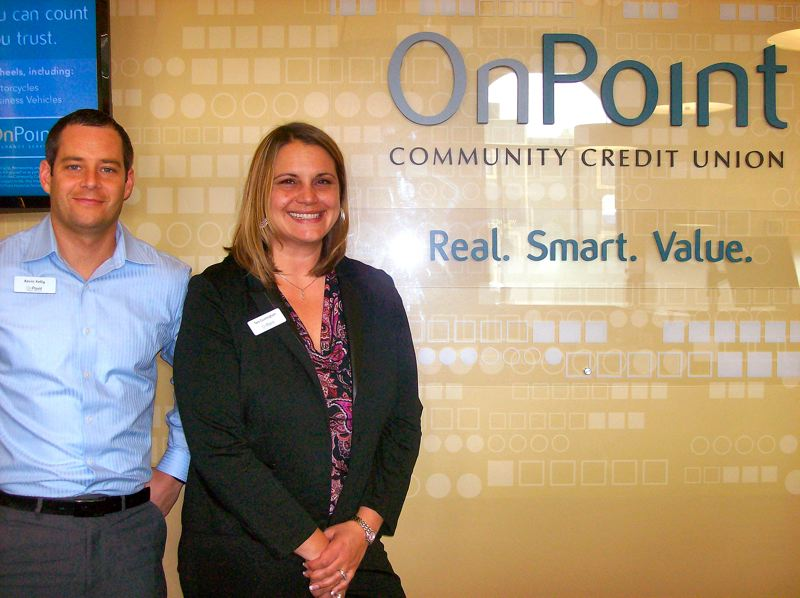 by: RITA A. LEONARD - Branch Manager Kevin Kelly and Assistant Manager Tara Cunningham head the staff of the new OnPoint Credit Union Branch, at Tacoma and S.E. 13th in Sellwood.