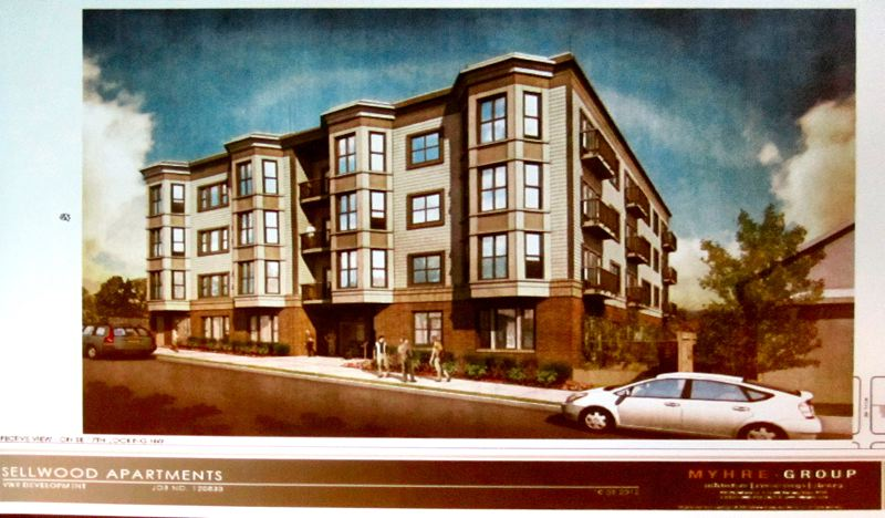 This architectural drawing of the planned new Sellwood apartment building, on Tacoma Street just east of the new 7-Eleven store, on what is currently a 100-by-100-foot empty lot, shows what it would look like. The cars in front of the building are intended to be in motion, approaching the 17th street stoplight, since no parking is allowed on Tacoma in that area.