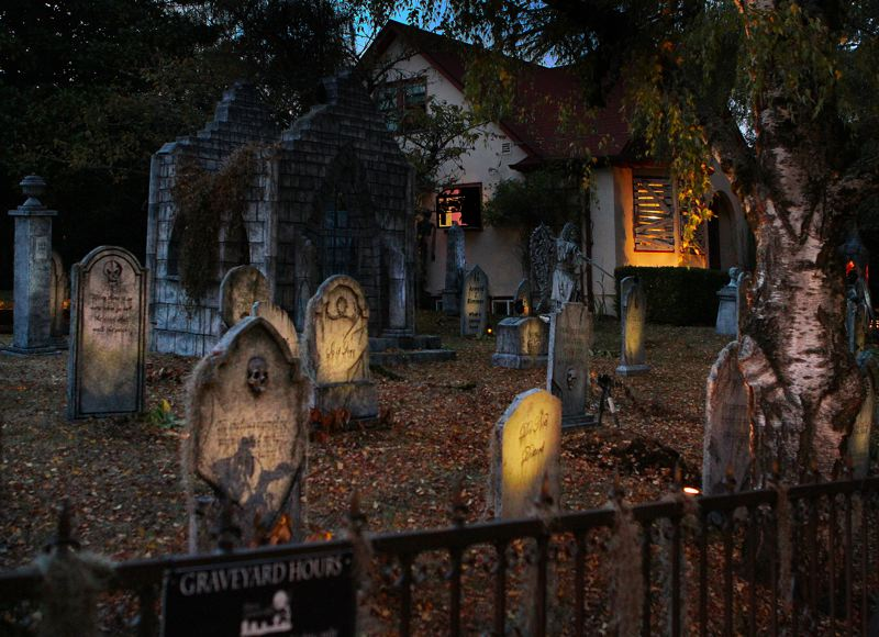 by: DAVID F. ASHTON - More than 1,500 people come by the Davis Graveyard on S.E. Johnson Creek Boulevard at 43rd on Halloween night alone.