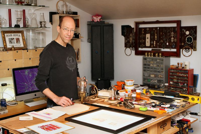 by: DAVID F. ASHTON - Working in his Brooklyn Neighborhood home studio, Michael Bailey creates an assemblage.