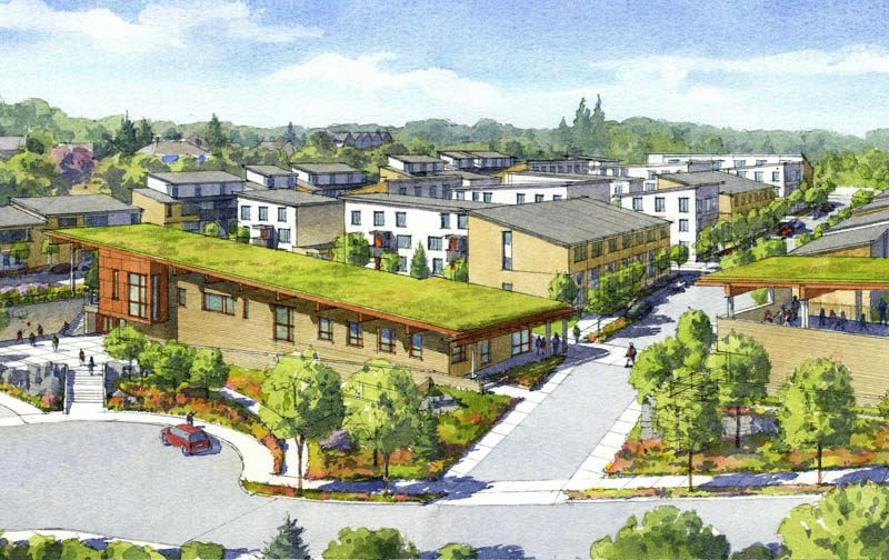 This rendering shows the proposed Stephens Creek Crossing apartment community now under construction at 26th Avenue and Capitol Highway.