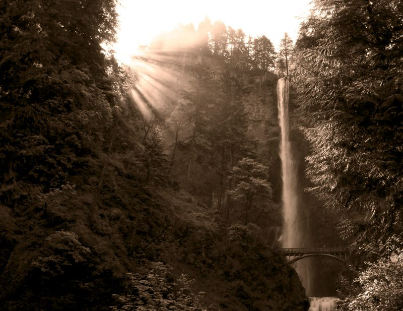 by: COURTESY OF DAVID GREENE - David Greene's work at Multnomah Falls is part of the Architectural Heritage Center's 'Gorge Inspirations' show opening Friday, Nov. 2.