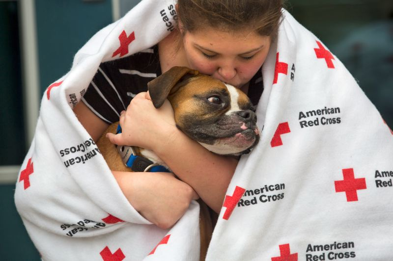 by: CONTRIBUTED PHOTO: LES STONE/AMERICAN RED CROSS - Kaitlyn Miller and her boxer, Coulton, take refuge in the pet friendly evacuation shelter at Pine Belt Arena in Toms River, N.J. The American Red Cross is managing the facility for the human population, which topped 400 Monday night, while the County Animal Response Team is managing space for pets in a separate area of the same building. CART supervisor Barbara Mason-Ward said her team hosted about 45 dogs, about 25 cats, three birds, a ferret, a rabbit and three hermit crabs Monday night, as Hurricane Sandy raged outside.