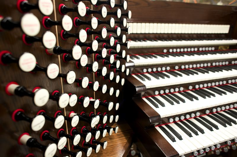 by: TRIBUNE PHOTO: CHASE ALLGOOD - A close-up look at the Masterpiece Signature Series 480 organ, manufactured by Rodgers Instruments Corporation in Hillsboro.