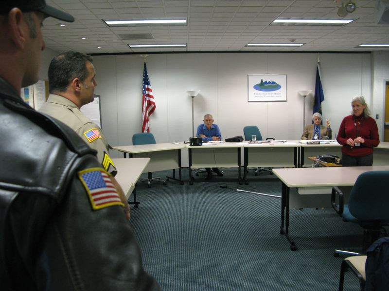 by: PHOTO BY RAYMOND RENDLEMAN - Clackamas County sheriff's deputies again came to the first 'official' meeting since a physical confrontation between the Clackamas River Water general manager and a board member on Sept. 13.