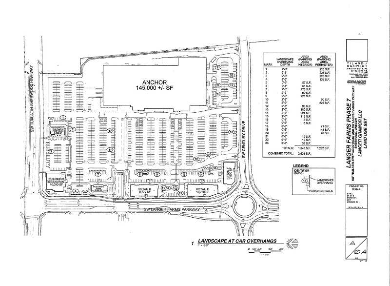 by: COURTESY OF CITY OF SHERWOOD - Here's an architectural drawing of the layout for a planned new shopping complex along along Langer Farms Parkway