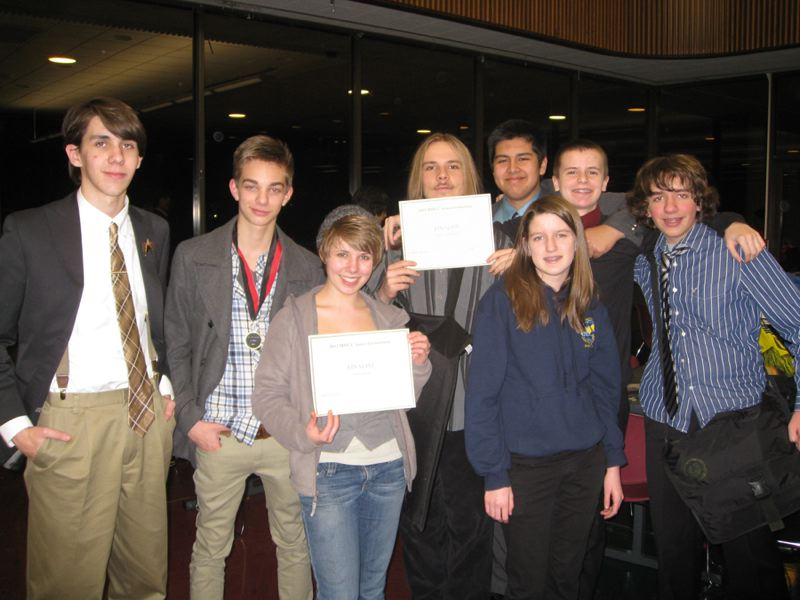 by: COURTESY PHOTO - Forest Grove High School speech and debate team members include Brenden Ashby, Luke Berdahl, Frannie Monahan, Ian Schlegel, Derik Mendez, Erin Harmon, Archer Morgan and Jack Thias. FGHS hosted Saturday´s invitational.
