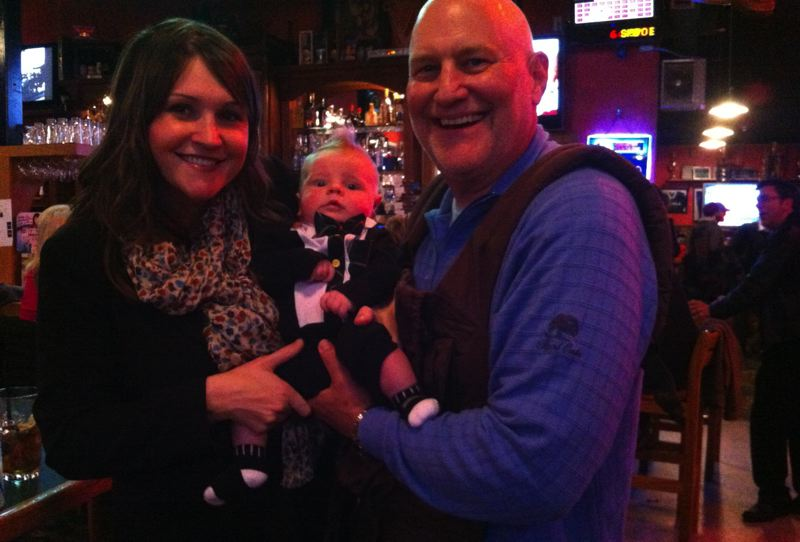 by: SUBMITTED - Shemia Fagan celebrates her Nov. 6 victory over State Rep. Patrick Sheehan (R-Happy Valley) with her husband, Richard, and their son Alton at McCool's Irish pub at 122nd and Sunnyside Road in Clackamas.