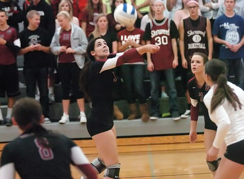 by: DAN BROOD - BUMP -- Sherwood junior setter Danielle LeBlanc keeps the ball in the air during Saturday's state playoff match against Corvallis.