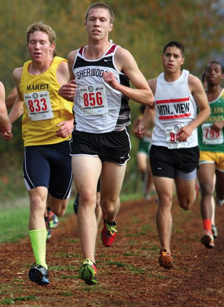 by: JONATHAN HOUSE - STRIDING OUT -- Sherwood senior Cody Thompson hits his stride during the Class 5A state cross country championships.