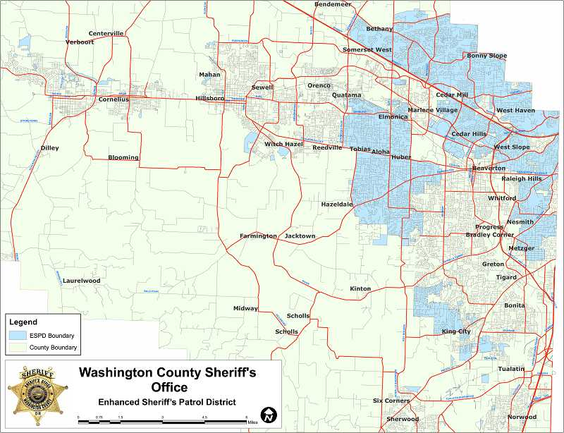 by: SUBMITTED GRAPHIC: WCSO - This map shows the Washington County Sheriff's Office Enhanced Sheriff's Patrol District. The shaded areas reflect the district 'interesting geographic footprint,' Sheriff Pat Garrett says.