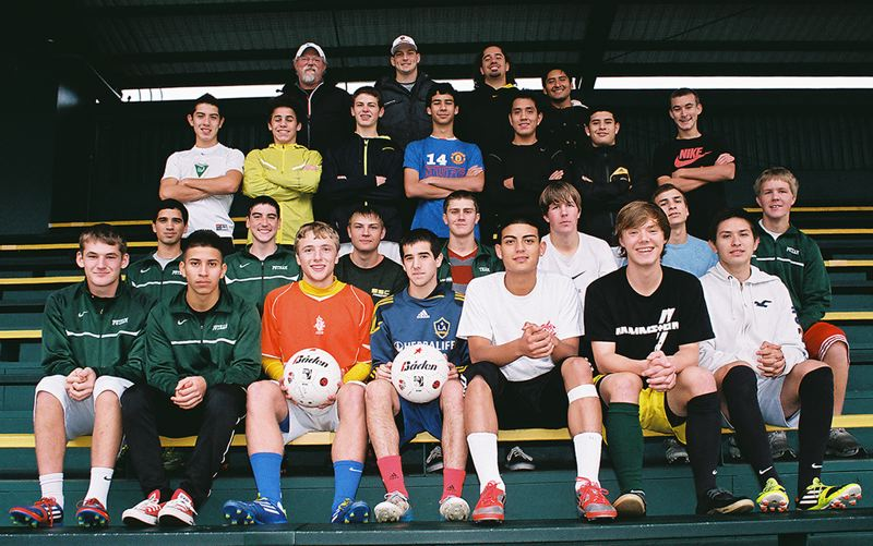 by: JOHN DENNY - Putnam made another great run in Class 5A boys soccer this fall, successfully defending the Northwest Oregon Conference championship and advancing to the final 16 of the state playoffs. Vying for the standout team were: (front row, from left) Matt Baker, Luis Perez, Elliot Bixby, Tim Bibian, Jose Rivera, Greg Elkins and Carlos Perez; (second row) Ryan Moore, Sam Batz, Martin Schmidt, Dalan Brown, David Wood, Andrew Ciobanasiu and Jacob Wood; (third row) Oscar Gutierrez-Herrera, Matt Ciobanasiu, Kegan Makinster, Alexis Sanchez, Kiko Antonio, Jonathan Chaires and Jesse Martinez; (back) head coach Mitch Wing, coach Kevin Schwartz, coach Chial Alba and coach Kip McGill; and (not pictured) Dustin Lantz and Ian Kay.