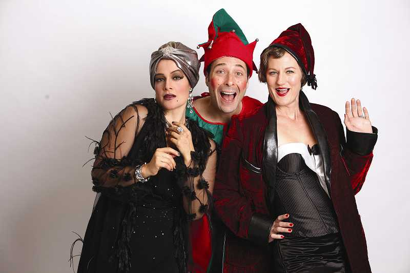 by: CRAIG MITCHELLDYER - In Christmas on Broadway, Rebecca Teran (left), Norman Wilson and Amanda Valley play would-be New York actors snowbound in a Broadway theater who put on their own show using props and costumes they find.
