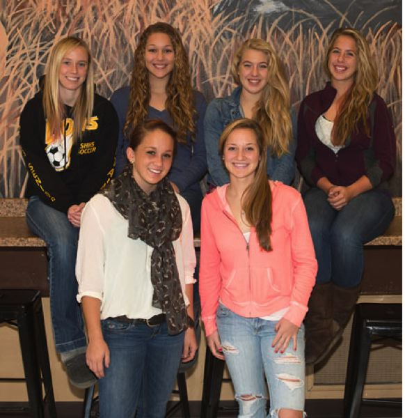 by: JEREMY DUECK - St. Helens' girls soccer players receiving NWOC all-league honors included: (front, from left) Ashley Giesbers, Stevie Strawn, (back) Dana Sukau, Regan Duarte, Tori Bair, Brie Maye.