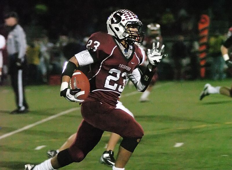 by: DAN BROOD - HOME RUN HITTER -- Sherwood senior Cristian Morris had three touchdowns covering more than 50 yards in the Bowmen's playoff win over Lebanon.